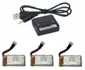Picture of 3X Walkera 3.7v 350mAh 25c LiPo Battery & Charger GA006 Ladybird Mini Geni