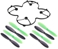Picture of Hubsan X4 H107L LED Rotor Propeller Protection Cover Blades Props Combo H107-A12 Green & Black H107-A36