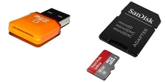 Picture of [QTY: 1] Ultra 8GB UHI-I/Class 10 Micro SDHC Memory Card Up To 48MB/s With Adapter- SDSDQUAN-008G-G4A [Newest Version] [QTY: 1] USB 2.0 SD TF Reader Adapter Hi-Speed up to 32GB Orange